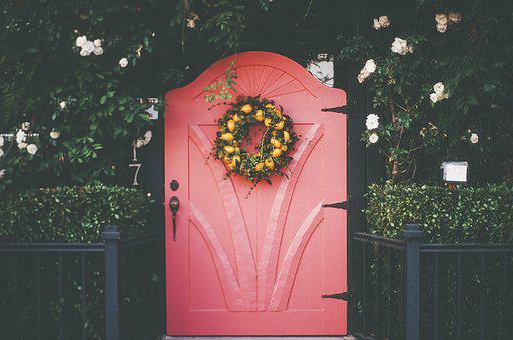 Pink, Red, Door, Wreath, Flowers, Plants, Bushes
