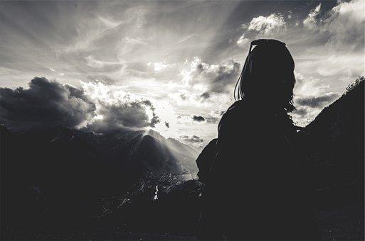 Sunbeams, Girl, Woman, People, Shadow, Silhouette