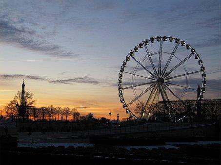 Ferris Wheel, Sunset, Sky