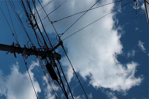 Power Lines, Blue, Sky