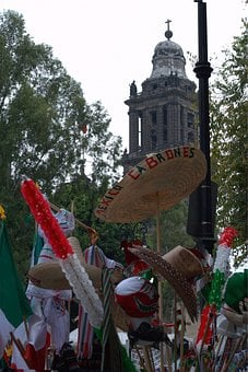 People, Crowd, Flags, Mexico, Mexicans, Sombrero