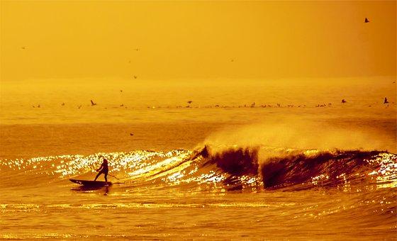 Surfer, Surging, Waves, Water, Ocean, Sea, Sports