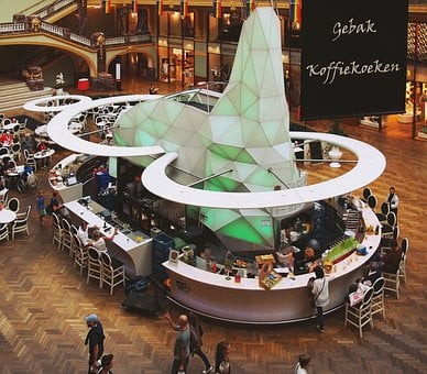 Shopping Mall, Stores, Restaurant, Tables, Chairs, Bar