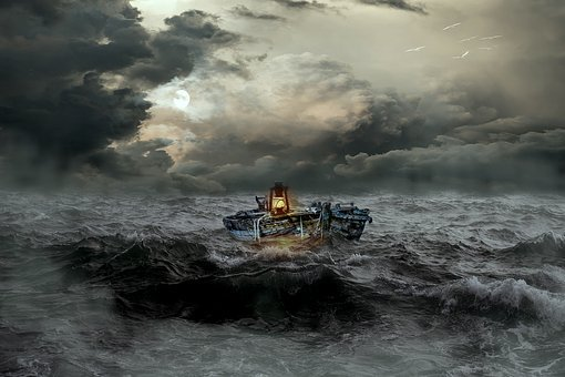 Rough Sea, Sea, Boot, Dark Clouds, Lantern, Glow