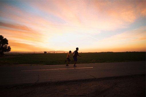 Sunset, Dusk, Sky, Young, Kids, Children, Running