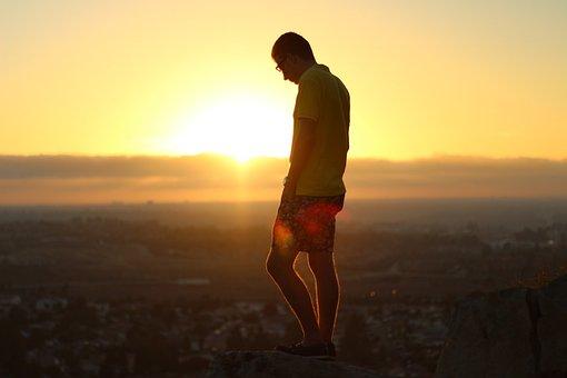 Sunset, Dusk, Guy, Man, People, Shorts, Polo Shirt