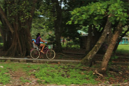 Bike, Bicycle, Cyclist, Baby, Child, Kid, Mother, Woman