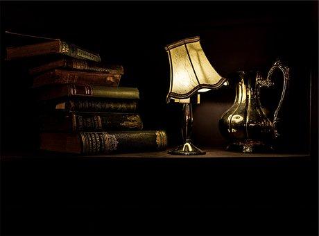 Desk, Lamp, Light, Wood, Books, Vintage, Antique, Dark