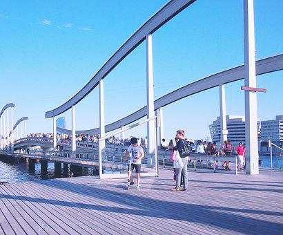 Barcelona, Spain, City, Boardwalk, Wood, Dock, Bridge