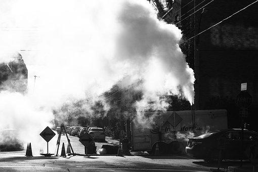 Construction, Smoke, Signs, Pylons, Street, Road, Block