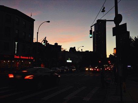 Sunset, Dawn, Dark, City, Road, Streets, Cars, Traffic