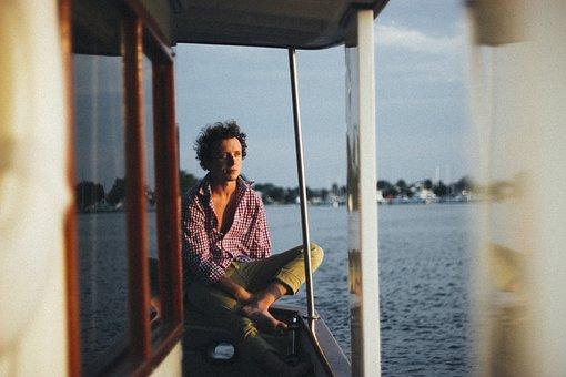 Guy, Man, Shirt, Checkered, Pants, Water, Boating, Sea