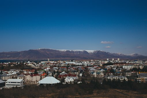 Iceland, Mountains, City, Town, Buildings, Skyline