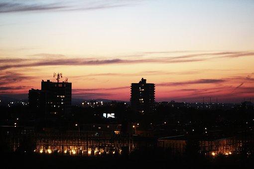 Sunset, Sky, Night, Dark, Buildings, City, Lights