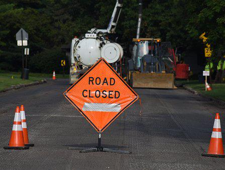 Road Closed, Sign, Construction, Roadblock, Closed
