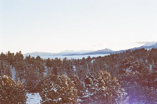 Colorado, Sunset, Sky, Mountains, Peaks, Trees