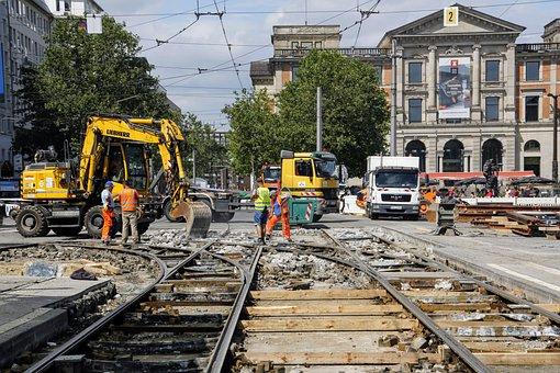 Site, Construction Workers, Tram, Traffic, Concrete