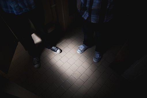Tiles, Floor, Converse, Shoes, Dark