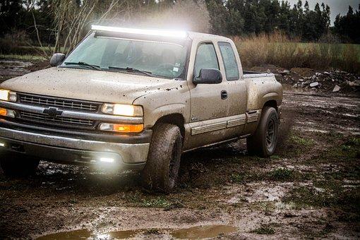Silverado, 4 X 4, Mud, Water, Herbs, Dirty Water