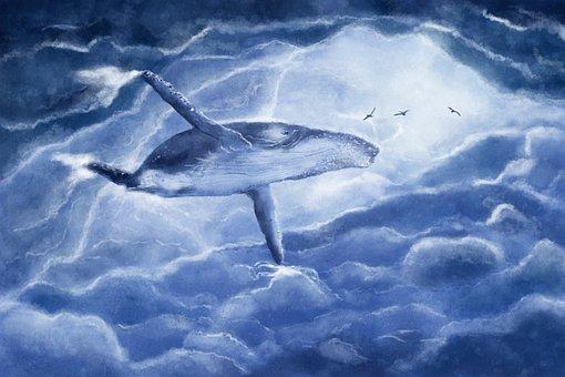 The Whale, Vráskavec, Clouds, Fantasy, Flight, Blue