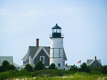 Lighthouse, Houses, Flag, Usa, United States, Chimneys