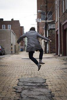 Girl, Jumping, Happy, People, Woman, Jacket, Pants