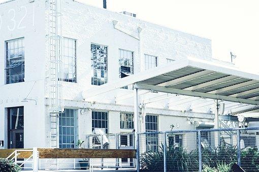 Warehouse, Building, Windows, Ladder, White, Fence
