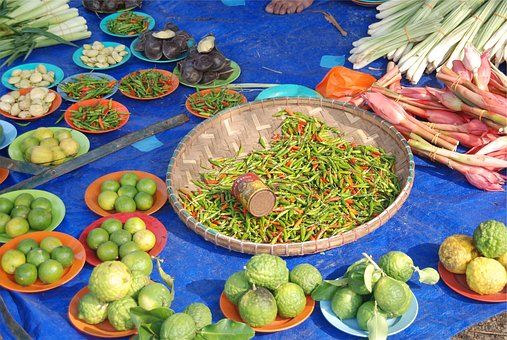 Vegetables, Beans, Limes, Chili Peppers, Food, Plates