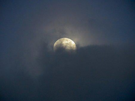Moon, Night, Sky, Clouds