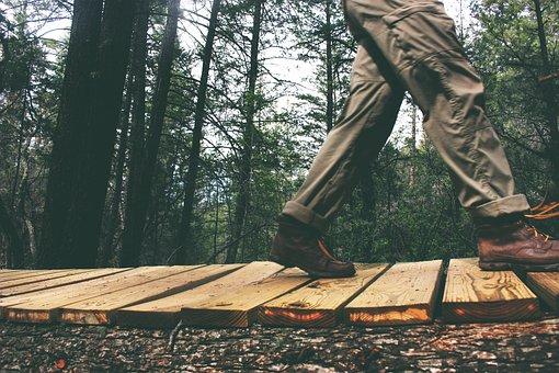 Man, Walking, Pants, Shoes, Boots, Wood, Path, Trail