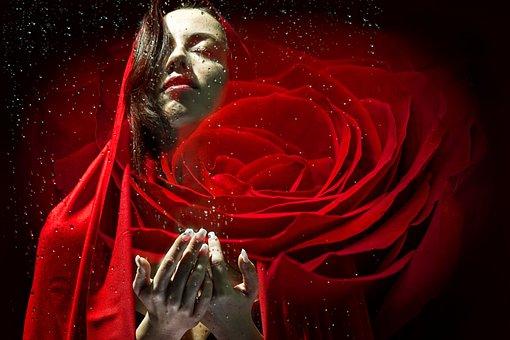 Woman, Face, Red, Rose, Portrait, Fantasy, Model