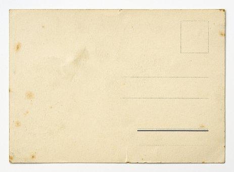 Backside Of A Vintage Postcard, Postcard, Card, Paper