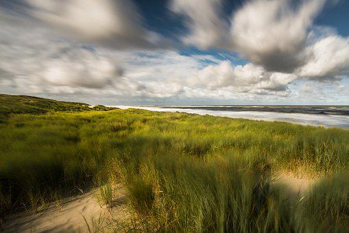 Dune, Sea, Clouds, Wind, North Sea, Beach, Summer