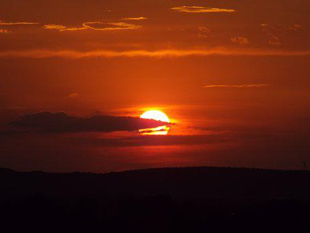 Sunset, Abbey Oberschönenfeld, Abendstimmung, Sun, Sky