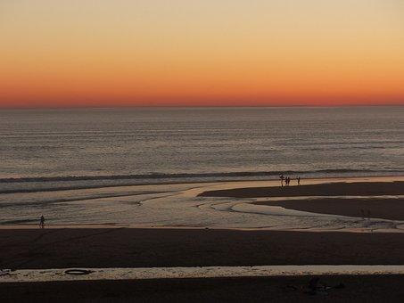 Beach, Setting, Sunset, Sea, Sky, Sand, Lying, Evening