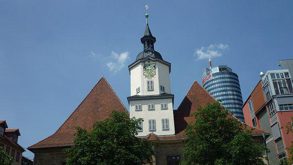 Town Hall, Clock Tower, Landmark, Jena, Snap-on Hans