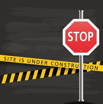 Under Construction, Stop, Site, Shield, Website
