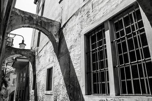Building, Concrete, Wall, Window, Sill Bars, Arches