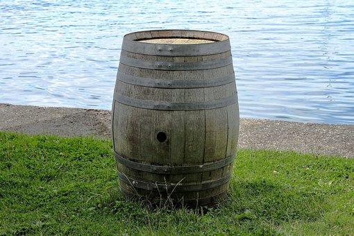 Barrel, Nature, Water, Lake, Green, Old Barrel
