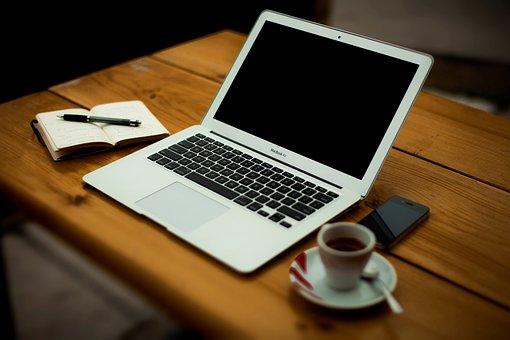 Macbook Air, Laptop, Computer, Notepad, Pen, Espresso