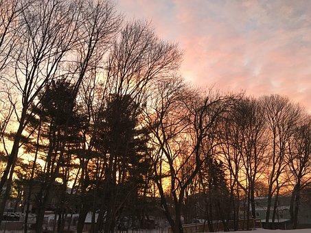 Sunrise, Morning, Winter, Spring, Light, Clouds, Nature