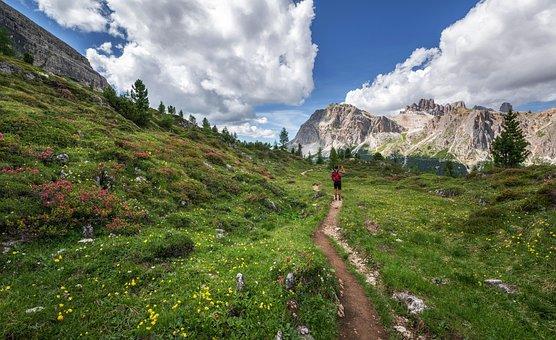 Dolomites, Hiker, Landscape, Rock, Girl, Italy, Hiking