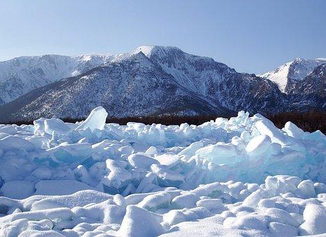 Baikal, Lake, Hummocks, Ice, Winter, Shadow, Rocks