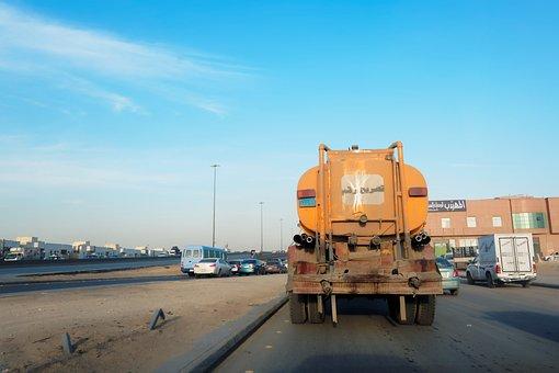 Tank Wagon, Road, Riyadh, Saudi Arabia, Traffic, Sky