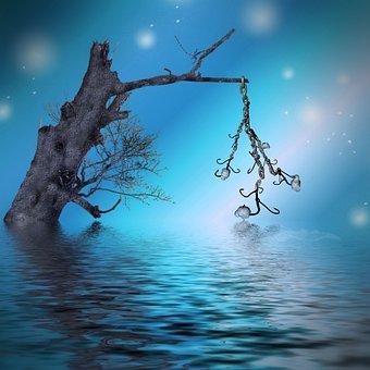 Tree, Fantasy, Water, Skull, Fishhook, Mood