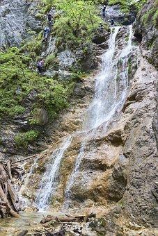 Waterfall, Tourists, Slovak Paradise, Water, Stream