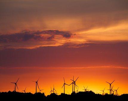 Sun, Pinwheel, Windräder, Wind Power, Sky, Sunrise