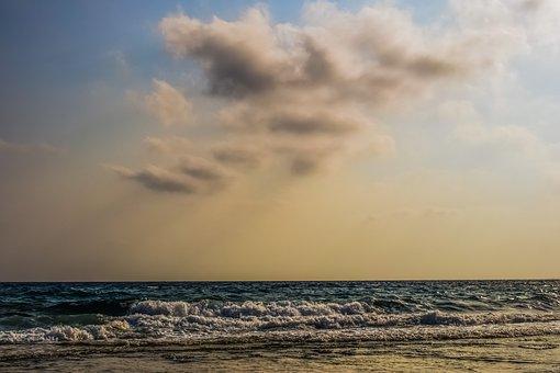 Sea, Sky, Clouds, Sunlight, Sunbeam, Afternoon, Horizon