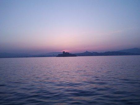 Sunset, Castle, Sea