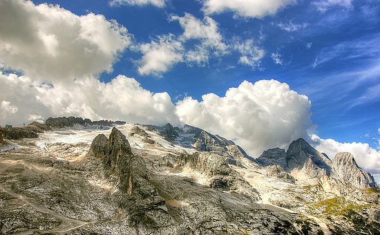 Marmolada, Dolomites, Italy, Mountains, Alpine, Clouds